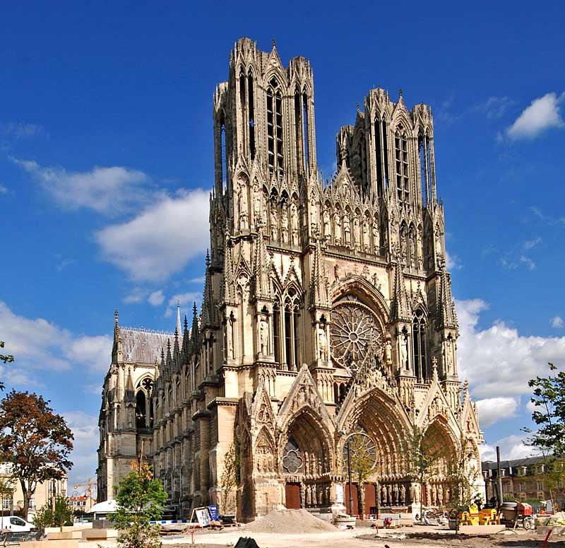Реймс, Францыя. Рэймскі сабор: Cath?drale Notre-Dame de Reims.
